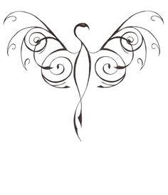 Dessin tatouage phoenix stylisé