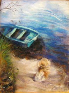 Картина из шерсти Ожидание - синий,картины из шерсти,живопись шерстью
