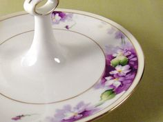 Nippon Violets Tidbit Hand Painted China by ConvergedCommodities