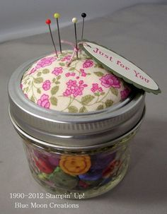Mason Jar Pincushion - No sewing, how ironic...  Pattern for square pincushion too!  Both are really cute!
