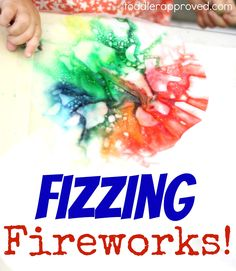 Toddler Approved: Fizzing Fireworks! A fun science activity with baking soda, vinegar, and food coloring!