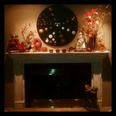 Fireplace mantel fall Halloween decor! Vintage infused