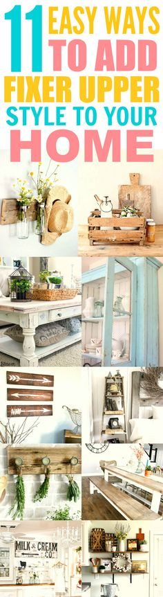 These 11 Fixer upper farmhouse DIY and style ideas are THE BEST! I'm so glad I found these AMAZING decor tips! Now I can finally make my home look like how Chip and Joanna decorate their house! Definitely pinning for later!