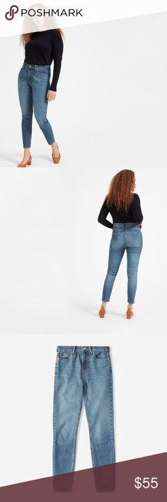 """Everlane High-Rise Skinny Jean (Regular) 24 NWT Skinny fit. Slim at the ankle. Sits at high waist. Rise: 10.5"""". Inseam: 28.5"""". Leg opening: 11"""" (size 28). We recommend taking your regular size in this color. 98% cotton, 2% elastane. This premium 11 oz Japanese denim has an authentic feel with a touch of stretch—and doesn't bag out.Machine wash cold. Tumble dry low.   perfect high-rise jean. Made of premium Japanese denim with just a touch of stretch, this pair is designed with a holds-you-in…"""