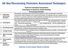 60 Non-Threatening Formative Assessment Techniques