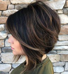 Angled Brown Balayage Bob by rena Popular Short Haircuts, Short Bob Haircuts, Haircut Bob, Inverted Bob Haircuts, Balayage Bob, Brown Balayage, Medium Hair Styles, Short Hair Styles, Thick Coarse Hair