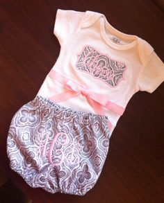 Monogrammed Baby Gift Set by ButtonsAndBritches on Etsy