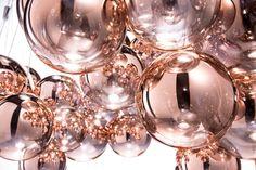 Luxury Designer Random Suspension Lamp, close up detail - Italian Designer Lighting that recalls the fabulous Living Coral PANTONE Color of the Year 2019.