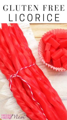Are you on a gluten free diet, but you are craving candy specifically soft, chewy red licorice? No problem! This delicious Gluten Free Licorice recipe will satisfy your taste buds and keep your health needs in check. This licorice recipe is easy to make too. In as little as an hour you can be munching on this gluten free dessert. #licoricerecipe #glutenfreelicorice #glutenfreerecipes #glutenfreedesserts Licorice Candy Recipe, Gluten Free Licorice, Red Licorice, Gluten Free Diet, Gluten Free Desserts, Fun Desserts, Gluten Free Recipes, Appetizers For A Crowd, Easy Appetizer Recipes