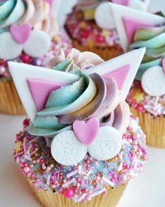 Unicorn Kitty Cupcake ☆ @minicakesbynat Cupcake Party, Birthday Cupcakes, Party Cakes, Dog Cupcakes, Cupcake Cakes, Kitten Party, Cat Party, Cat Birthday, Birthday Ideas