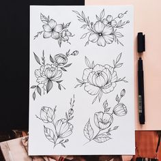 33 ideas drawing tattoo sketches inspiration for 2019 Tattoo Design Drawings, Tattoo Sketches, Flower Tattoo Designs, Flower Tattoos, Flower Designs, Art Drawings, Drawing Art, Daily Drawing, Cute Tattoos