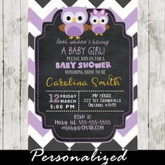 Celebrate the new arrival with this adorable owl themed girl baby shower invitation featuring a cute purple mother and daughter owls against a chalkboard background and a white, grey and purple zigzag chevron pattern. #cupcakemakeover