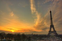 Francia, París, torre eiffel, puesta de sol wallpaper