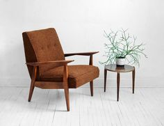 Mid Century Lounge Chair - Modern, Side, Wood, Retro, Danish. $285.00, via Etsy.