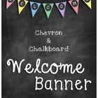 This bright welcome banner combines your love of chevron and your love for chalkboard all into one.   Be sure to check out my other chevron and cha...