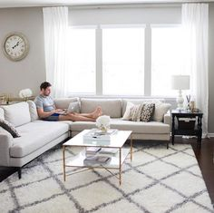 West Elm Andes Sectional with shag rug