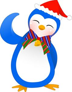 Happy Penguin Clip Art | Clip art of a happy penguin sporting a colorful tie and wearing a red ...