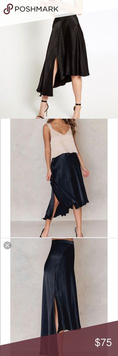 Bardot Black Scarlett Skirt Start your perfectly polished party look with a statement black skirt!  The Scarlett Skirt features a thick waistband, relaxed silhouette, asymmetrical hem and invisible zip closure to the side seam with hook and eye. Bardot Skirts Asymmetrical