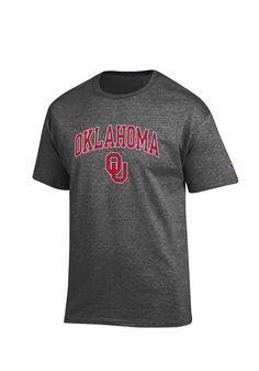 04482f4a Champion Oklahoma Sooners Grey Arch Mascot Short Sleeve T Shirt, Grey, 100%  COTTON, Size 3XL