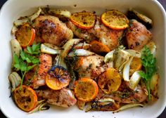 Roasted Chicken with Clementines  oven to 475F  1/2 cup of ouzo  1/2 cup olive oil  1/4 cup freshly squeezed orange juice  1/4 cup freshly squeezed lemon juice  4 Tbsp grainy mustard  4 Tbsp light brown sugar   •Mix these 6 ingredients together in a bowl to make the sauce, and set aside.   2 medium fennel bulbs   1 large chicken, cut into eight pieces  4 clementines   several fresh sprigs of thyme  2 1/2 tsp fennel seeds, lightly crushed