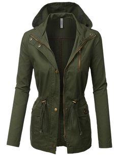LE3NO Womens Military Anorak Safari Jacket with Hoodie