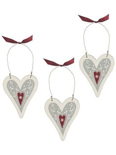 Nordic Wooden Heart Tree Decorations