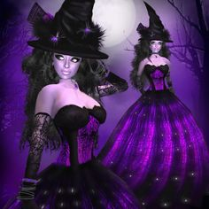 e3893d3e226f1 ATOI-Black/Purple Lace Witch Gown /WITH SKIN....Perfect for HALLOWEEN!  Ziggy Bean · SecondLife Purple