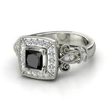 Vintage inspired black diamond ring