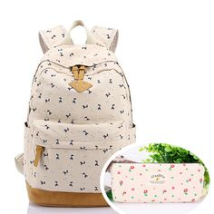 f81af0c82a8bb CoastaCloud Lightweight Canvas Laptop Backpack Cute School Bag with One  Free Pen Bag