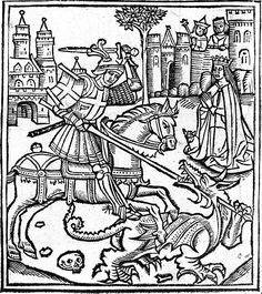 Woodcut of St George Slaying the Dragon from the Life of Saint George – 1515, Alexander Barclay