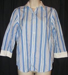 Ralph Lauren White Blue Striped Cotton Button Front Career Shirt Top PM M in Clothing, Shoes & Accessories | eBay