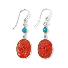 Jay King Turquoise and Red Agate Cameo Sterling Silver Earrings | HSN