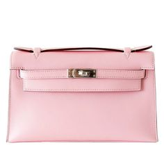 b50d39c651d6 HERMES KELLY Pochette Clutch bag Rose Sakura Swift leather palladium
