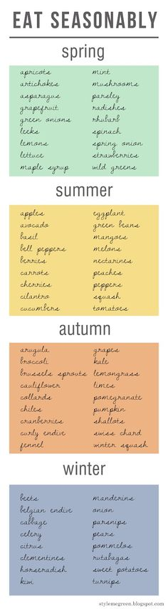 choosing seasonal veggies & fruits
