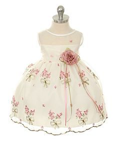 $20.99 Love this Ivory & Pink Floral Embroidered Dress & Flower Pin - Infant on #zulily! #zulilyfinds