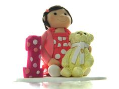 Bespoke 1st Birthday polymer clay cake topper. Includes the birthday girls favourite teddy!!