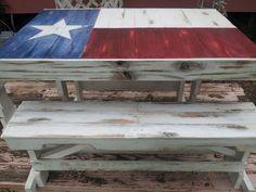 Custom Metallic Texas Flag Table