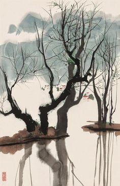 Artwork by Wu Guanzhong, Spring Willow In Jiang Nan, Made of Mounted Chinese Landscape Painting, Japanese Painting, Chinese Painting, Landscape Art, Japanese Art, Landscape Paintings, Abstract Paintings, Oil Paintings, Wu Guanzhong