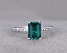 Emerald Engagement ring White gold,Diamond wedding Cut Treated Emerald,Green Gemstone Promise Ring,Bridal Ring,Prong by popRing on Etsy Emerald Wedding Rings, Unique Diamond Engagement Rings, Emerald Cut Rings, Gold Diamond Wedding Band, Wedding Ring Bands, Ring Ring, White Gold Jewelry, Pretty Rings, Emerald Green