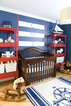 Red, White and Blue Nautical Nursery - what a fun wall monogram!