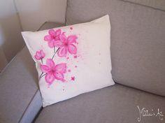 Flowers hand painted pillows series / Cherry Blossom throw pillow / Sakura Pillow