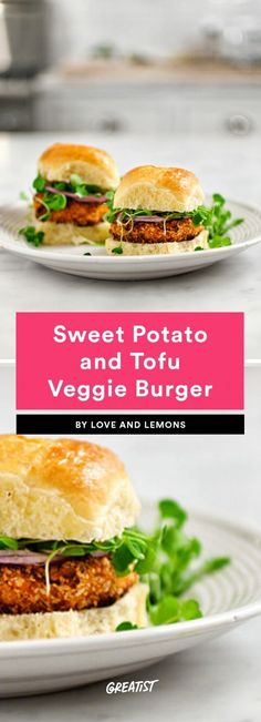 Sweet Potato and Tofu Veggie Burger Delicious Vegan Recipes, Burger Recipes, Raw Food Recipes, Veggie Recipes, Vegetarian Recipes, Cooking Recipes, Healthy Recipes, Vegetarian Burgers, Freezer Recipes