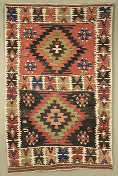 Karapinar kilim, Central Anatolia, late 19th century. Islamic Tiles, Asian Rugs, Ethnic Decor, African Textiles, Magic Carpet, Kilim Rugs, Rugs On Carpet, Oriental Rugs, Bohemian Rug