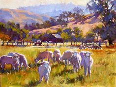 Boonville Sheep, Linda Erfle Oil on canvas 12x16