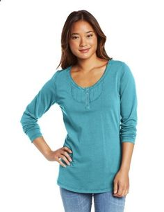 Woolrich Women's First Forks Dobby Henley, Deep Aqua, Small Scoop neck. Woven dobby trim at front chest, neck, and cuffs. Coverstitch detailing. Regular fit. Boulder-washed cotton. #Woolrich #Apparel