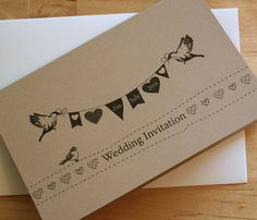 Rustic style wedding stationery with cute birds and bunting, your wedding date is printed within the bunting. Tea Party Invitations, Invites, Cute Birds, Vintage Tea, Rustic Style, Bunting, Creative Business, Wedding Stationery, Vows
