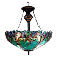 Handcrafted using the same techniques that were developed by Louis Comfort Tiffany in the early 1900's, this beautiful Tiffany-style piece contains over 300 hand-cut pieces of bent glass and comes with 48 inches of chain and 60 inches of wire.
