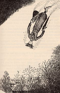 Mary Poppins, illustration by Mary Shepard, daughter of E.H. Shepard.