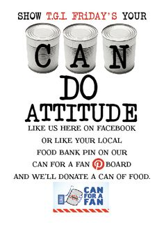 Do you have a can do attitude? Like these pins to donate a can of food to your local food pantry ! #CanForAFan