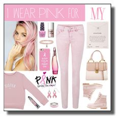 """""""I Wear Pink for..."""" by m-e-l-o-d-e ❤ liked on Polyvore featuring Bob & Blossom, Timberland, Soap & Paper Factory, Benefit, Miu Miu, Dogeared, Donna Karan, Casetify, contestentry and IWearPinkFor"""